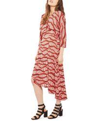 TOPSHOP | Red Matchstick Print Wrap Dress | Lyst