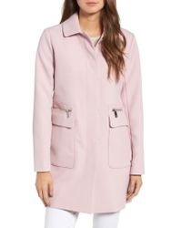Kenneth Cole - Pink Zip Pocket A-line Coat - Lyst