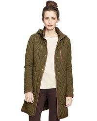Lauren by Ralph Lauren Green Faux Leather Trim Quilted Coat