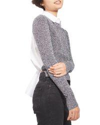 TOPSHOP | Blue Tie Back Hybrid Sweater Shirt | Lyst