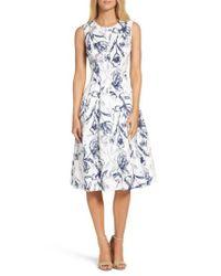 Eliza J   Blue Fit & Flare Dress   Lyst