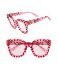 Gucci Pink 49mm Crystal Heart Sunglasses - Fuchsia