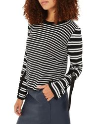 TOPSHOP | Black Buckle Cuff Stripe Sweater | Lyst
