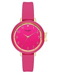 Kate Spade - Pink Park Row Silicone Strap Watch - Lyst