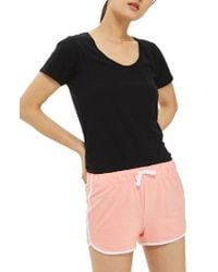 TOPSHOP - Pink Nep Runner Shorts - Lyst