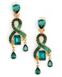 Oscar de la Renta | Green Intertwined Baguette Crystal Earrings | Lyst