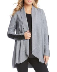 Karen Kane | Gray Faux Leather Trim Drape Cardigan | Lyst