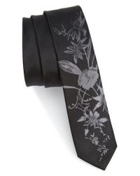 The Kooples | Black Floral Jacquard Silk Skinny Tie for Men | Lyst