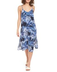 RVCA | Blue Chasing Shadow Midi Dress | Lyst