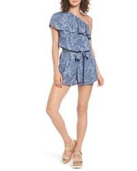 Mimi Chica | Blue Ruffle One-shoulder Romper | Lyst
