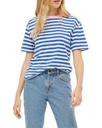 TOPSHOP - Blue Contrast Neck Stripe Tee - Lyst