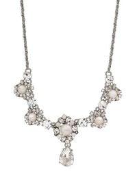 Marchesa | Metallic Fronatl Crystal Necklace | Lyst
