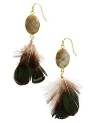 Panacea | Metallic Feather Earrings | Lyst