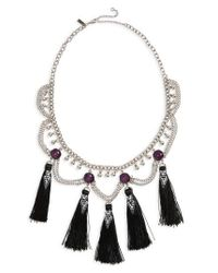 TOPSHOP | Metallic Mega Tassel Drop Collar Necklace | Lyst