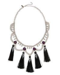TOPSHOP - Metallic Mega Tassel Drop Collar Necklace - Lyst