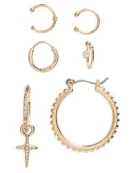 TOPSHOP | Metallic Set Of 6 Cross Mix Earrings | Lyst