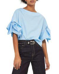 TOPSHOP | Blue Bow Sleeve Blouse | Lyst