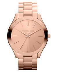 MICHAEL Michael Kors | Metallic Michael Kors 'slim Runway' Bracelet Watch | Lyst