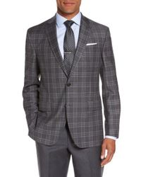 Ted Baker | Gray Jay Trim Fit Plaid Wool Sport Coat for Men | Lyst