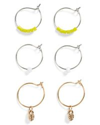 TOPSHOP - Metallic Set Of 3 Charm Hoop Earrings - Lyst