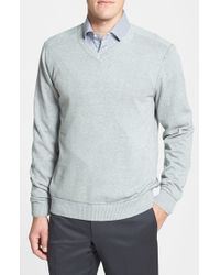 Cutter & Buck - Gray 'broadview' Cotton V-neck Sweater for Men - Lyst