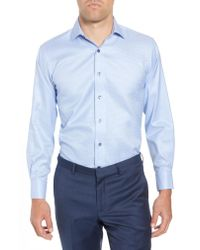 Lorenzo Uomo - Blue Trim Fit Houndstooth Dress Shirt for Men - Lyst