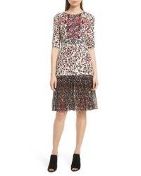 Saloni - Multicolor Vera Print Silk Dress - Lyst