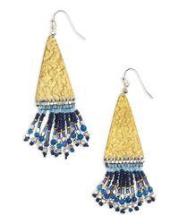 Nakamol | Blue Hammered Bead Drop Earrings | Lyst