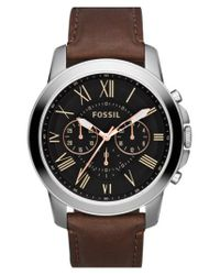 Fossil - Brown 'grant' Round Chronograph Leather Strap Watch for Men - Lyst