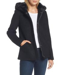 Laundry by Shelli Segal - Black Hooded Wool Blend Boucle Jacket With Faux Fur Trim - Lyst