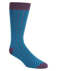 Ted Baker - Blue Chevron Stripe Socks for Men - Lyst