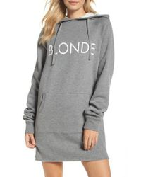 BRUNETTE the Label - Gray Blonde Sweatshirt Dress - Lyst