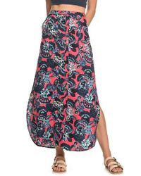 9cbcef92a0 Roxy Sunset Islands Floral Print Maxi Skirt in Red - Lyst