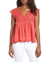 Lucky Brand - Red Eyelet Tank - Lyst