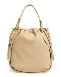 Sondra Roberts - Natural Faux Leather Drawstring Tote - Lyst