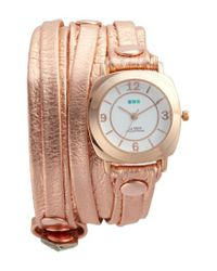 La Mer Collections - Metallic Odyssey Leather Wrap Strap Watch - Lyst