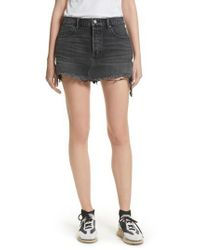 T By Alexander Wang Gray Destroyed Hem Denim Skirt