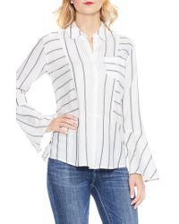 Two By Vince Camuto | White Bell Sleeve Stripe Shirt | Lyst