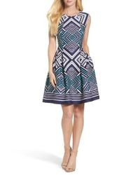 Vince Camuto | Blue Fit & Flare Dress | Lyst