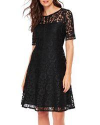 Wallis   Black Lace & Lattice Fit & Flare Dress   Lyst