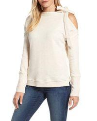 Caslon | Natural Caslon Tie Cold Shoulder Sweatshirt | Lyst