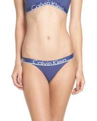 Calvin Klein - Blue Logo Cotton Tanga - Lyst