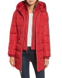 Kensie | Red Hooded Quilted Parka | Lyst