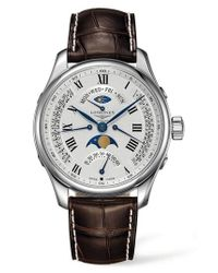 Longines - Metallic Master Automatic Multifunction Leather Strap Watch for Men - Lyst
