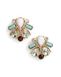 Adia Kibur - Metallic Crystal & Stone Stud Earrings - Lyst