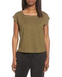 Eileen Fisher - Green Hemp & Organic Cotton Knit Crop Top - Lyst