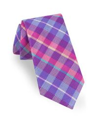 Ted Baker - Purple Plaid Silk Tie for Men - Lyst
