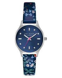 Ted Baker | Blue Zoe Round Leather Strap Watch | Lyst