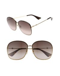 Gucci - 63mm OverGold/ Brown - Lyst