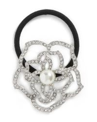 Tasha - Metallic Flower Garden Crystal Ponytail Holder - Lyst